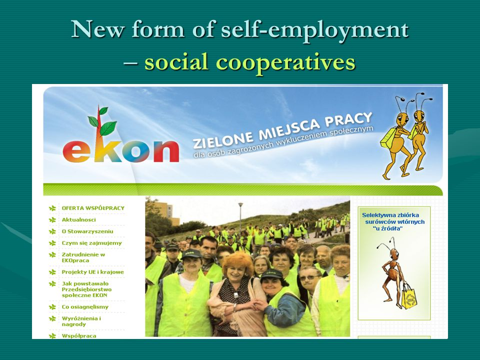 New form of self-employment – social cooperatives