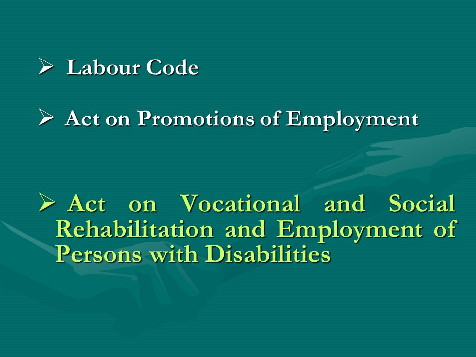 Labour Code Labour Code Act on Promotions of Employment Act on Promotions of Employment Act on Vocational and Social Rehabilitation and Employment of Persons with Disabilities Act on Vocational and Social Rehabilitation and Employment of Persons with Disabilities