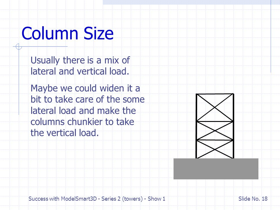 Success with ModelSmart3D - Series 2 (towers) - Show 1 Slide No. 17 Which load is greater? What if the horizontal load was the greater load? What shap