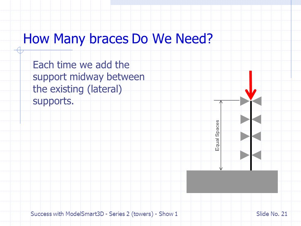 Success with ModelSmart3D - Series 2 (towers) - Show 1 Slide No. 20 Secondary Buckling Mode Now how do we keep it from buckling?