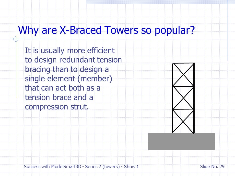 Success with ModelSmart3D - Series 2 (towers) - Show 1 Slide No. 28 Procedure for Designing X-Braces Design the diagonals to resist the tension create