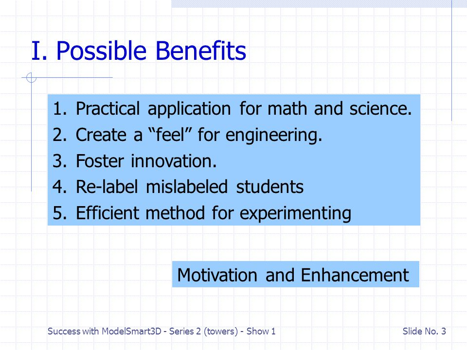 Success with ModelSmart3D - Series 2 (towers) - Show 1 Slide No. 2 Series Outline Show # 1 I.Possible benefits II.Introduction to towers Show # 2 III.