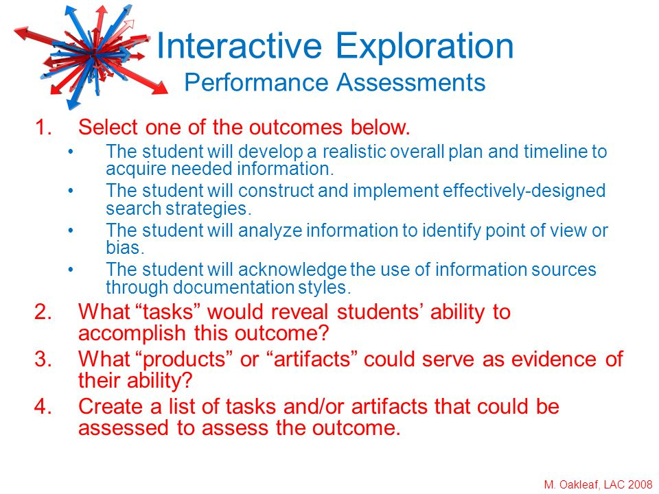 M. Oakleaf, LAC 2008 1.Select one of the outcomes below. The student will develop a realistic overall plan and timeline to acquire needed information.