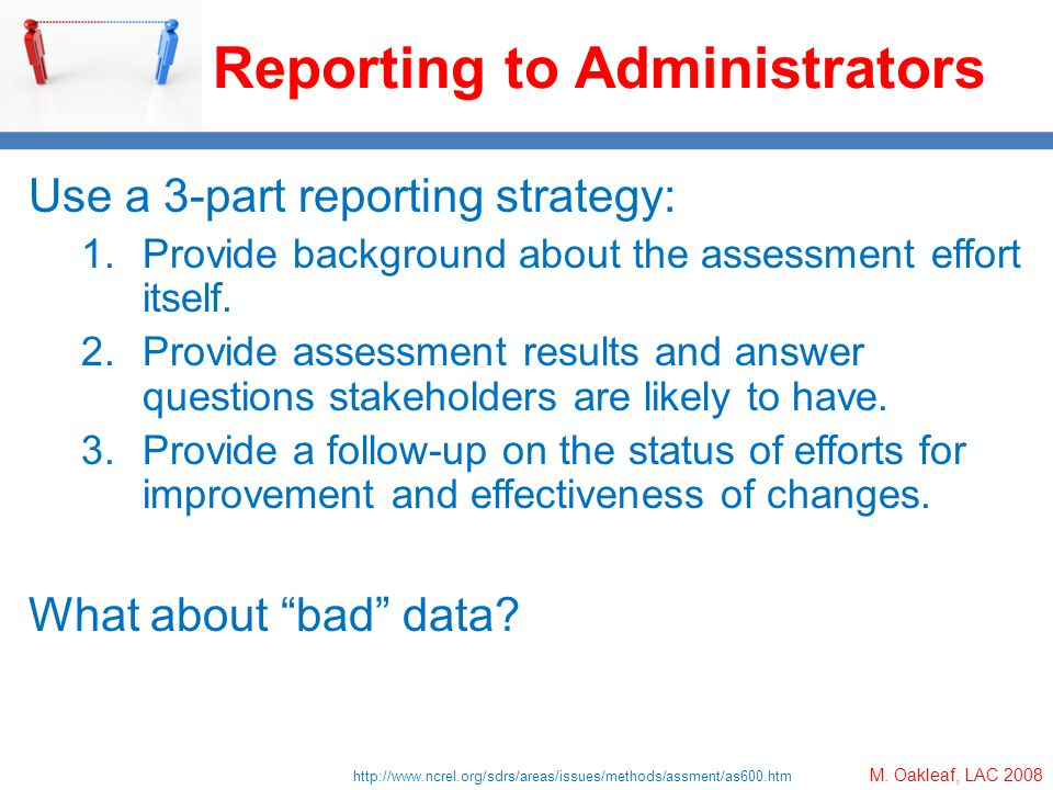 M. Oakleaf, LAC 2008 Reporting to Administrators Use a 3-part reporting strategy: 1.Provide background about the assessment effort itself. 2.Provide a