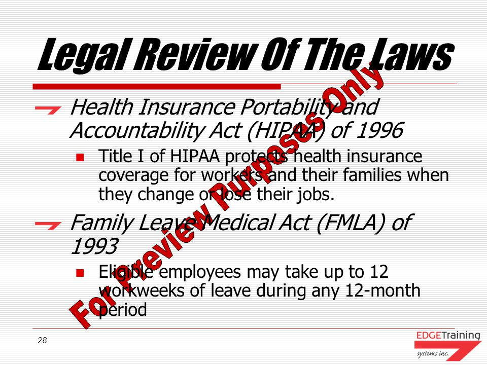 28 Legal Review Of The Laws Health Insurance Portability and Accountability Act (HIPAA) of 1996 Title I of HIPAA protects health insurance coverage for workers and their families when they change or lose their jobs.
