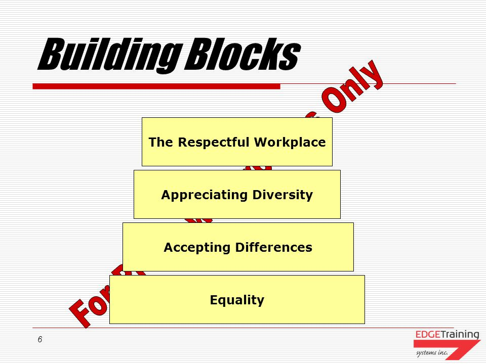 6 Building Blocks The Respectful Workplace Appreciating Diversity Accepting Differences Equality