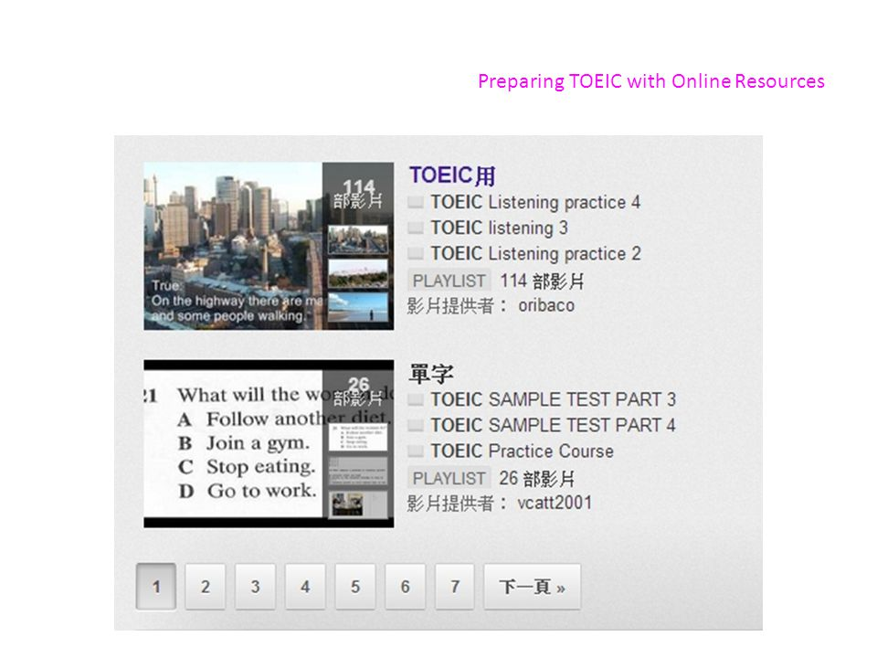 Preparing TOEIC with Online Resources