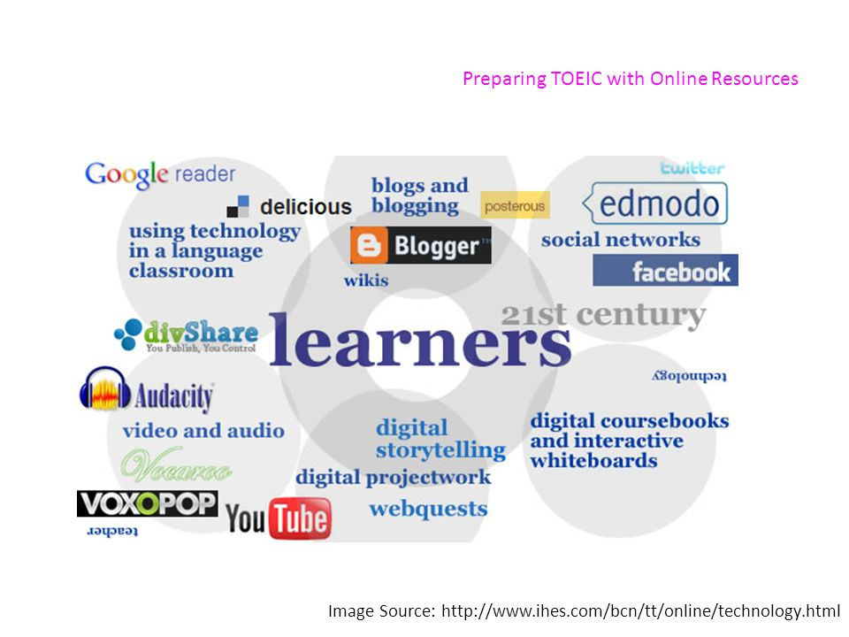 Preparing TOEIC with Online Resources Image Source: http://www.ihes.com/bcn/tt/online/technology.html