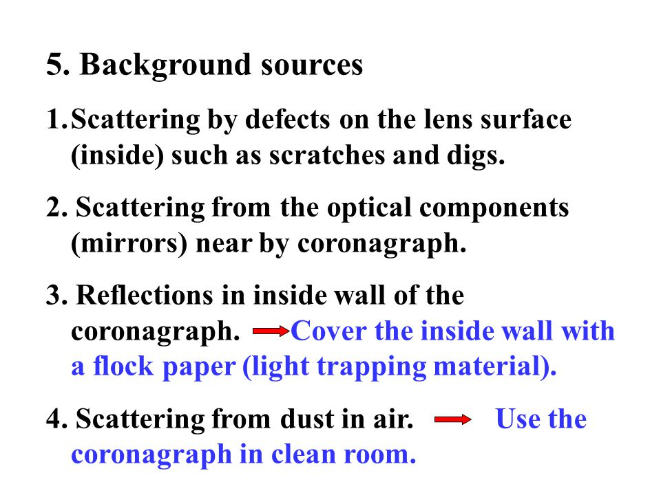 5. Background sources 1.Scattering by defects on the lens surface (inside) such as scratches and digs. 2. Scattering from the optical components (mirr