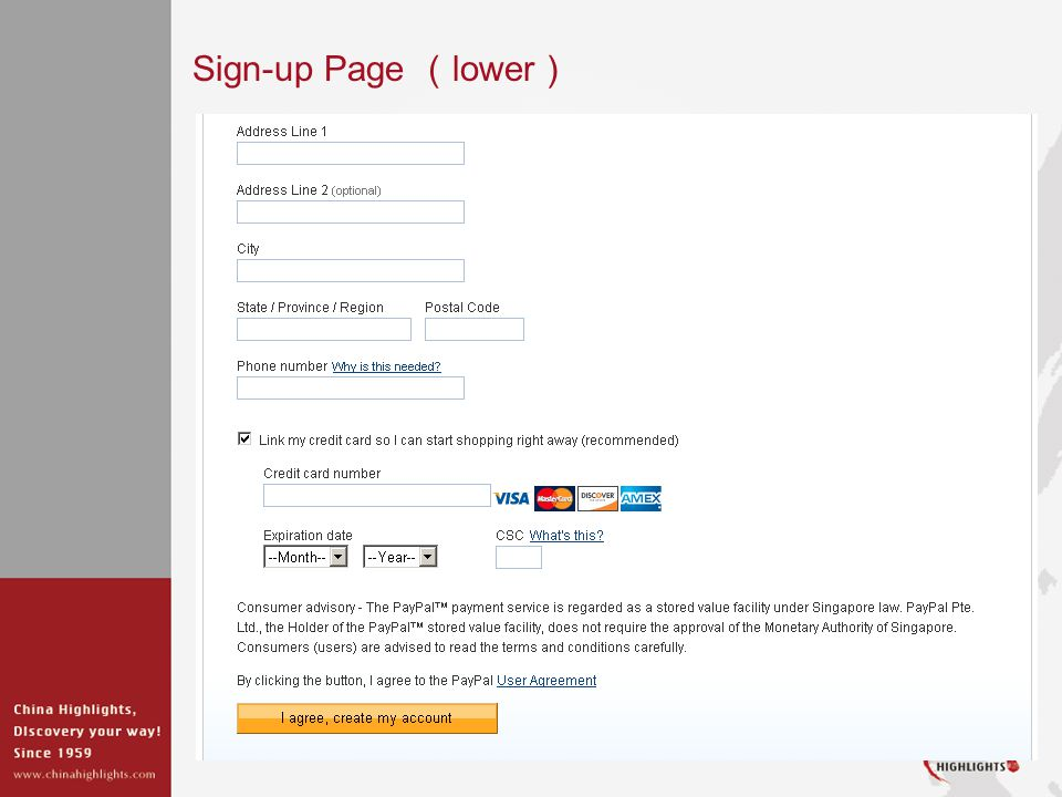 Sign-up Page lower