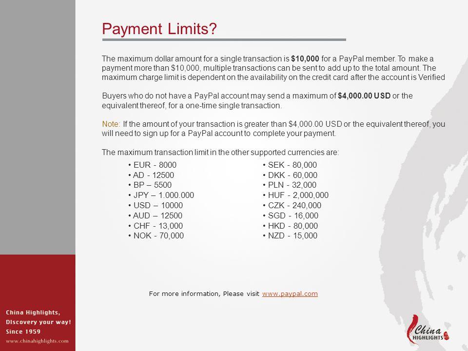 Payment Limits.