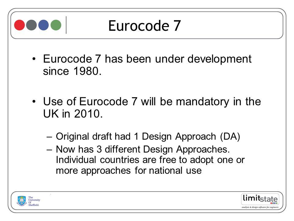 Eurocode 7 has been under development since 1980. Use of Eurocode 7 will be mandatory in the UK in 2010. –Original draft had 1 Design Approach (DA) –N
