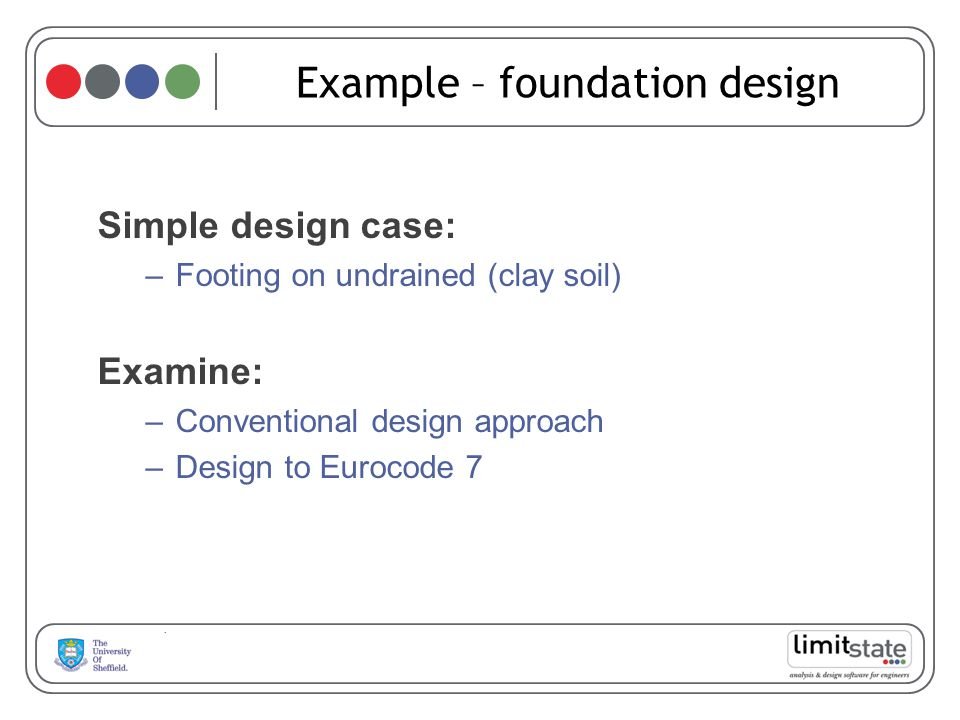 Example – foundation design Simple design case: –Footing on undrained (clay soil) Examine: –Conventional design approach –Design to Eurocode 7