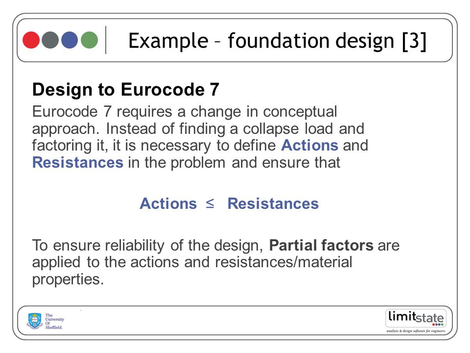 Example – foundation design [3] Design to Eurocode 7 Eurocode 7 requires a change in conceptual approach.