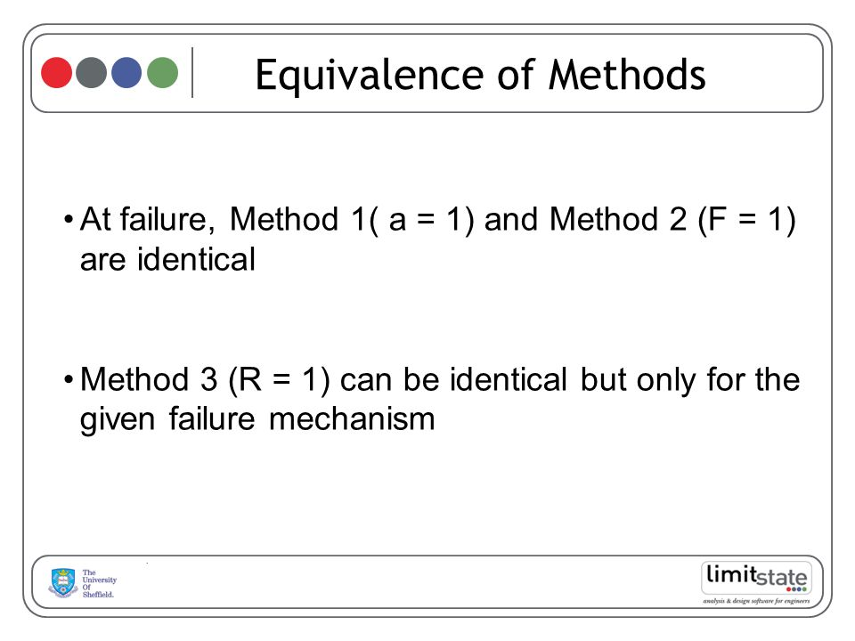 Equivalence of Methods At failure, Method 1( a = 1) and Method 2 (F = 1) are identical Method 3 (R = 1) can be identical but only for the given failure mechanism