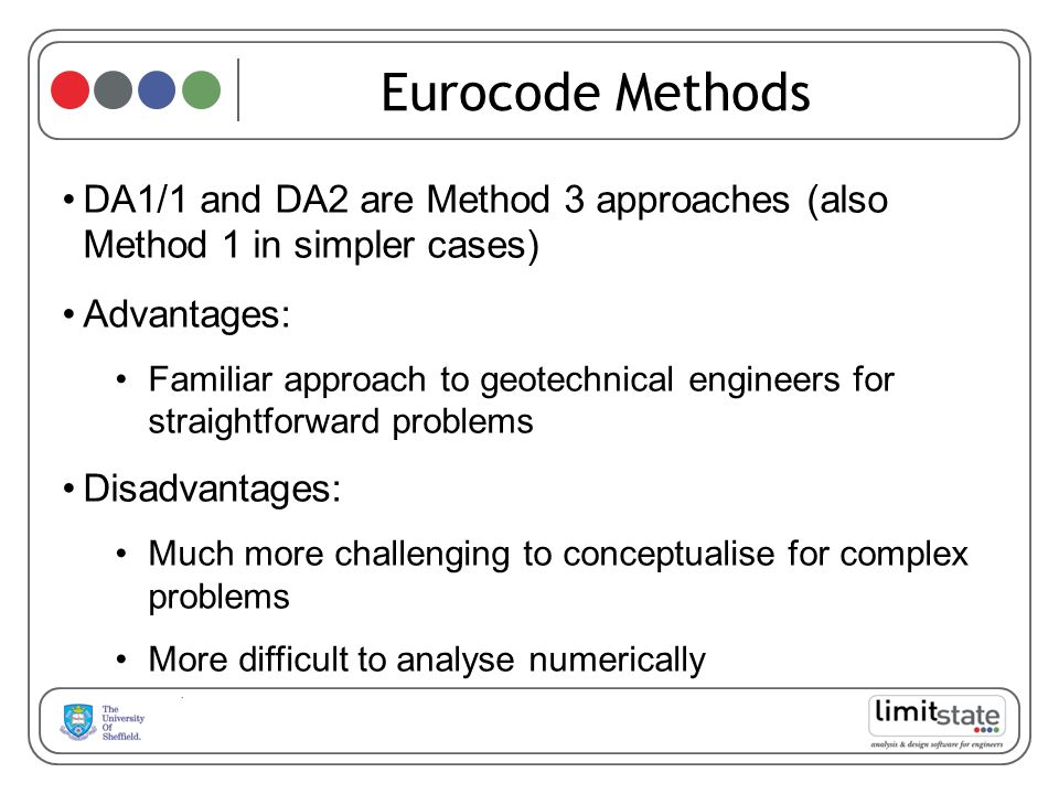 Eurocode Methods DA1/1 and DA2 are Method 3 approaches (also Method 1 in simpler cases) Advantages: Familiar approach to geotechnical engineers for straightforward problems Disadvantages: Much more challenging to conceptualise for complex problems More difficult to analyse numerically