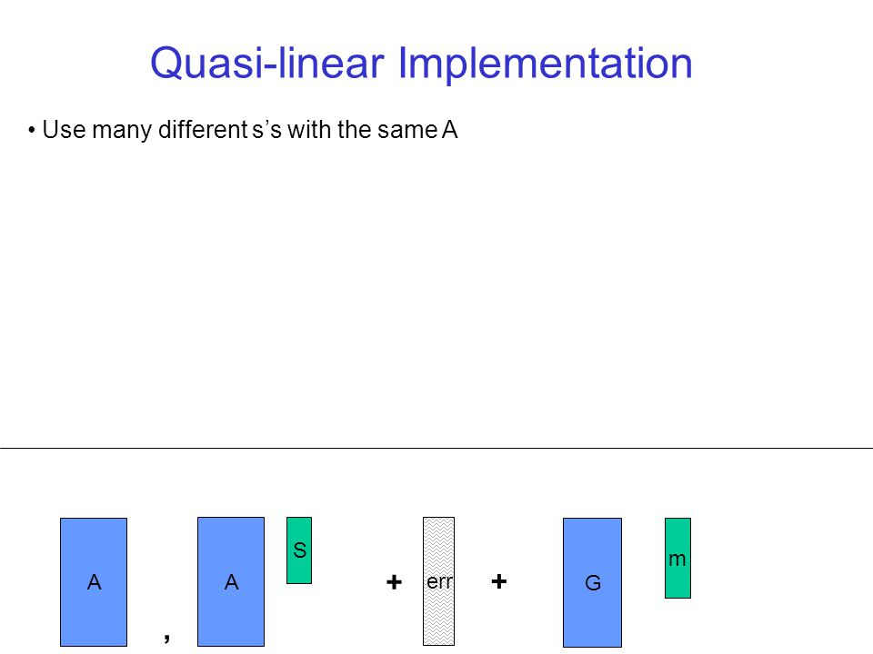 Use many different ss with the same A Quasi-linear Implementation A S err + A, + G m