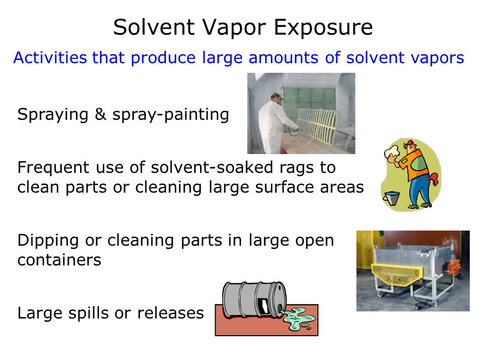 Solvent Vapor Exposure Activities that produce large amounts of solvent vapors Spraying & spray-painting Frequent use of solvent-soaked rags to clean