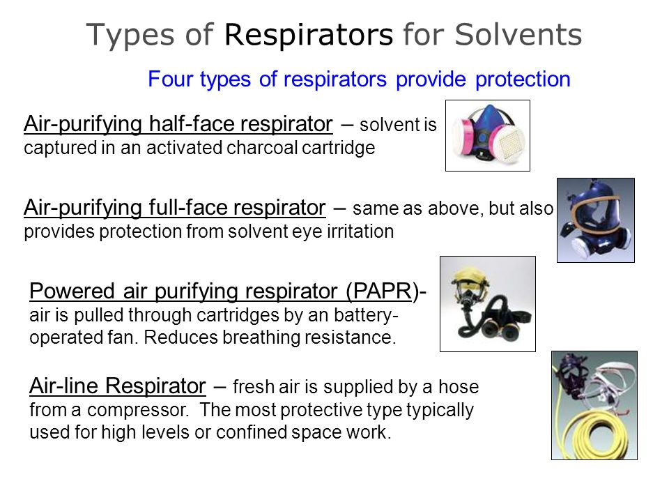 Types of Respirators for Solvents Four types of respirators provide protection Air-purifying half-face respirator – solvent is captured in an activate
