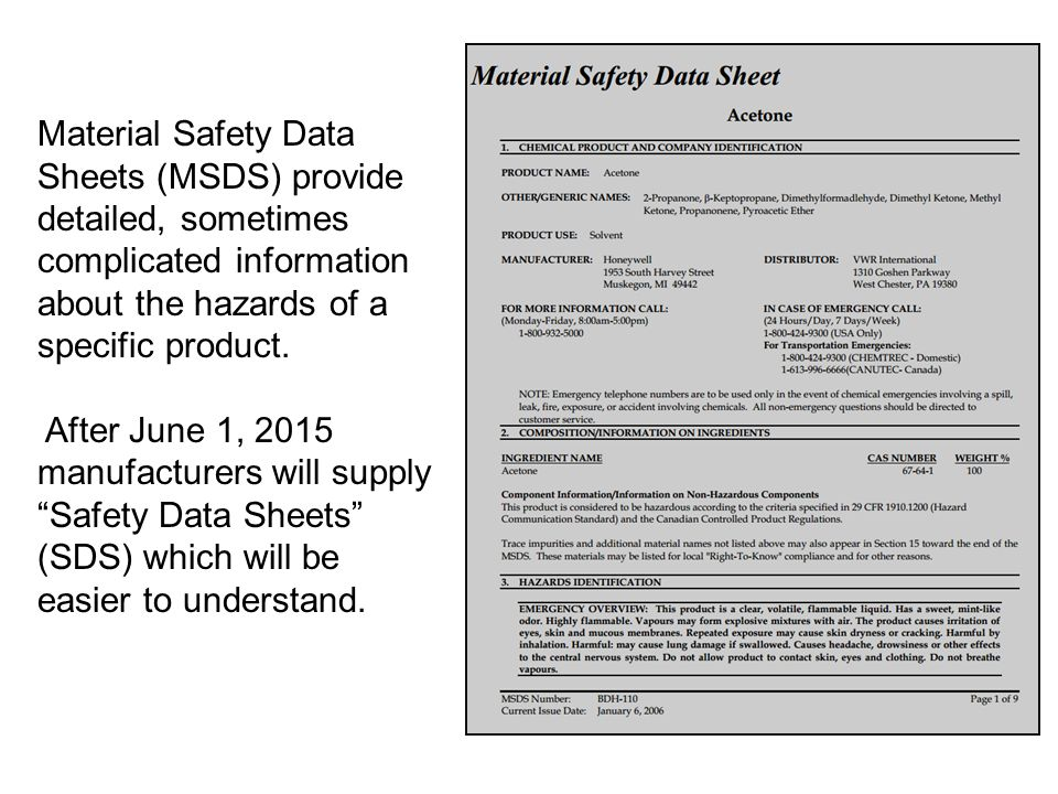 Material Safety Data Sheets (MSDS) provide detailed, sometimes complicated information about the hazards of a specific product. After June 1, 2015 man