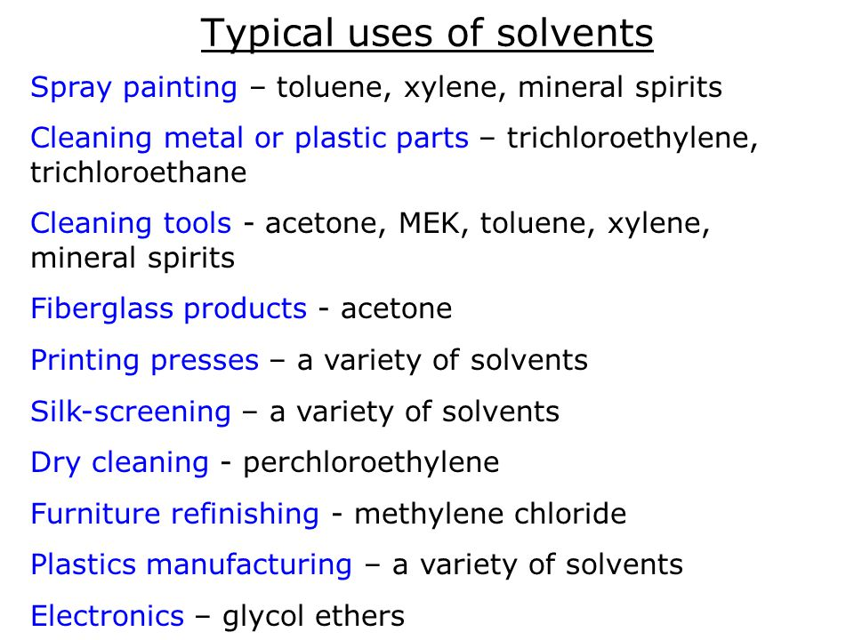Permissible Exposure Limits Most commonly used solvent vapors have Permissible Exposure Limits (PELs) or allowable amounts in the air.