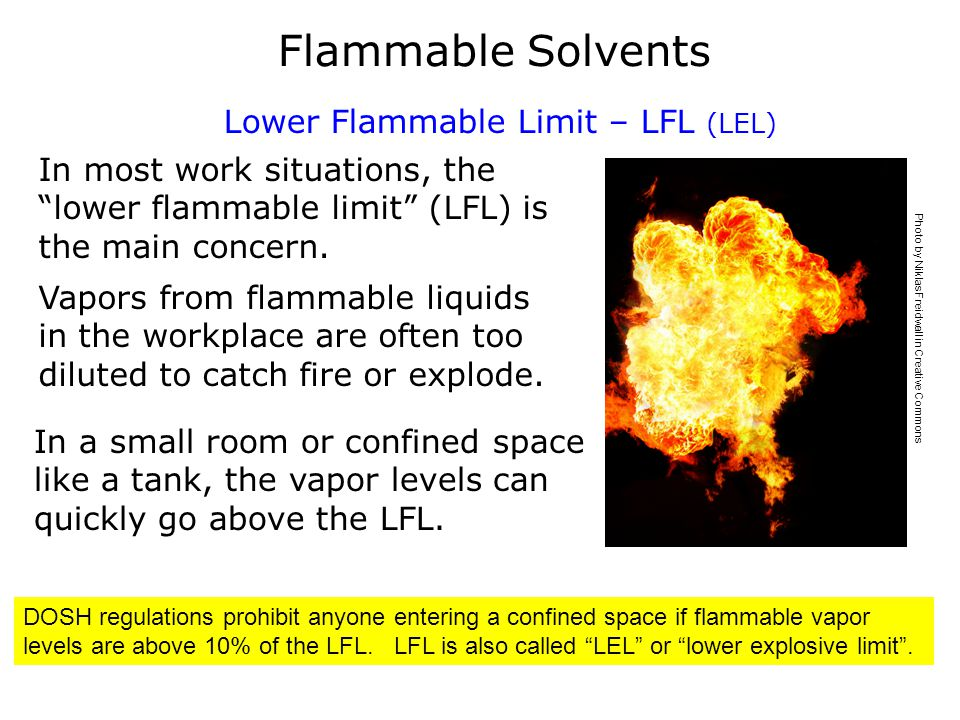 Flammable Solvent Safe Practices Use containers specially designed (UL - approved) for flammable liquids.