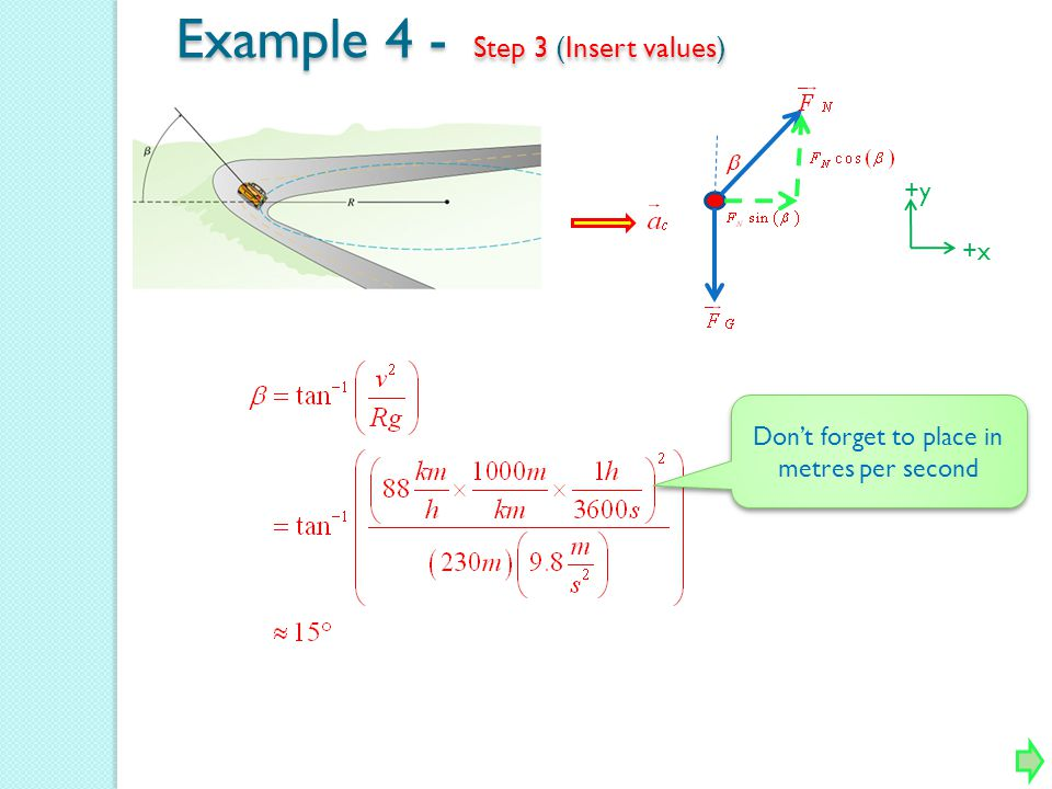 +y +x Example 4 - Step 3 (Insert values) Dont forget to place in metres per second