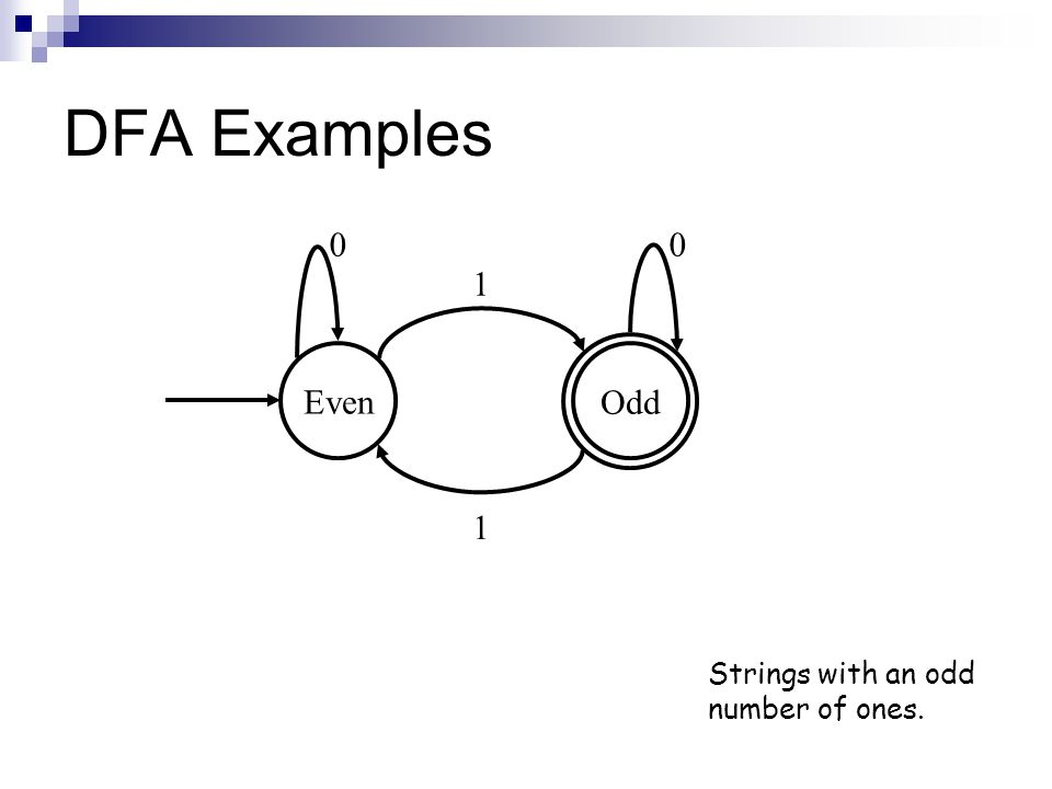 DFA Examples Strings with an odd number of ones. Even Odd 00 1 1