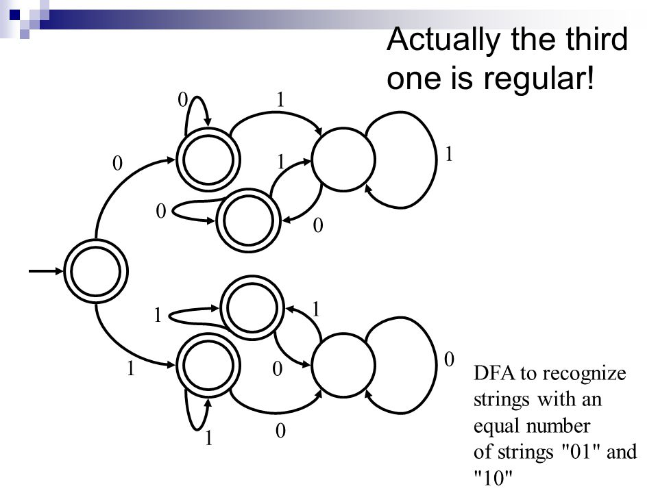 Actually the third one is regular! DFA to recognize strings with an equal number of strings