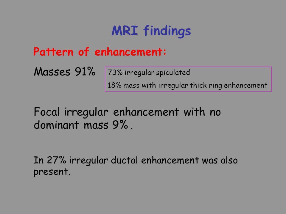 MRI findings Pattern of enhancement: Masses 91% Focal irregular enhancement with no dominant mass 9%. In 27% irregular ductal enhancement was also pre