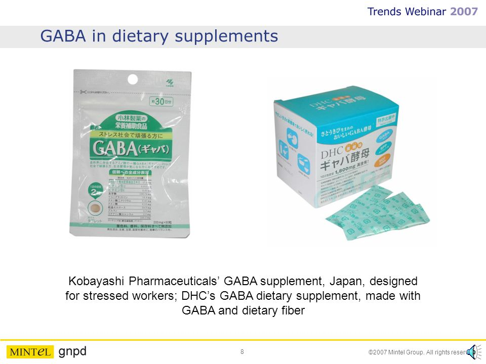 8 ©2007 Mintel Group. All rights reserved. GABA in dietary supplements Kobayashi Pharmaceuticals GABA supplement, Japan, designed for stressed workers
