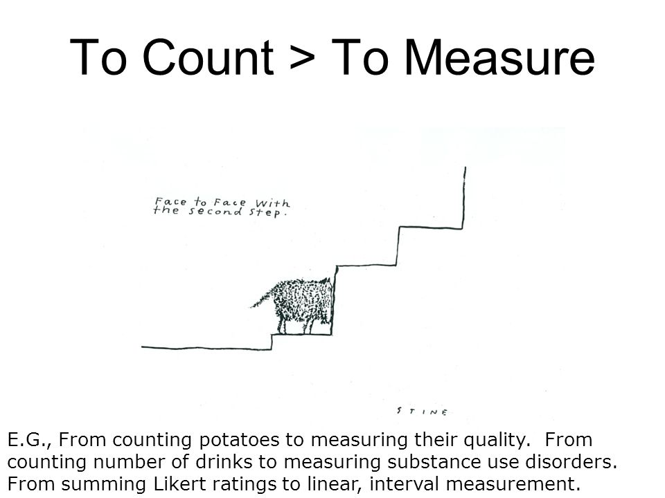 To Count > To Measure E.G., From counting potatoes to measuring their quality. From counting number of drinks to measuring substance use disorders. Fr