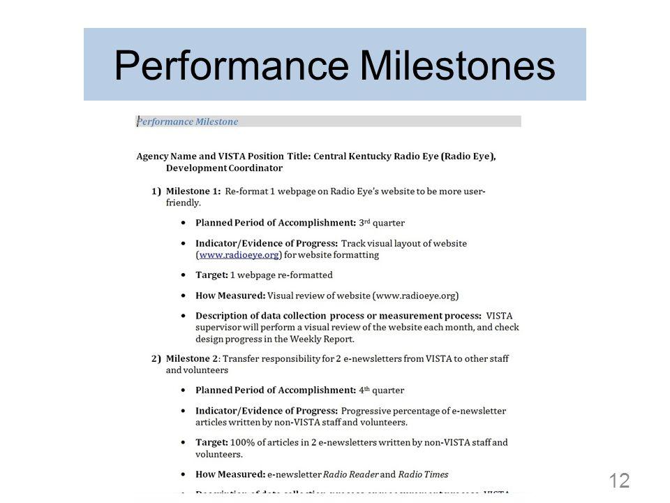 Performance Milestones 12
