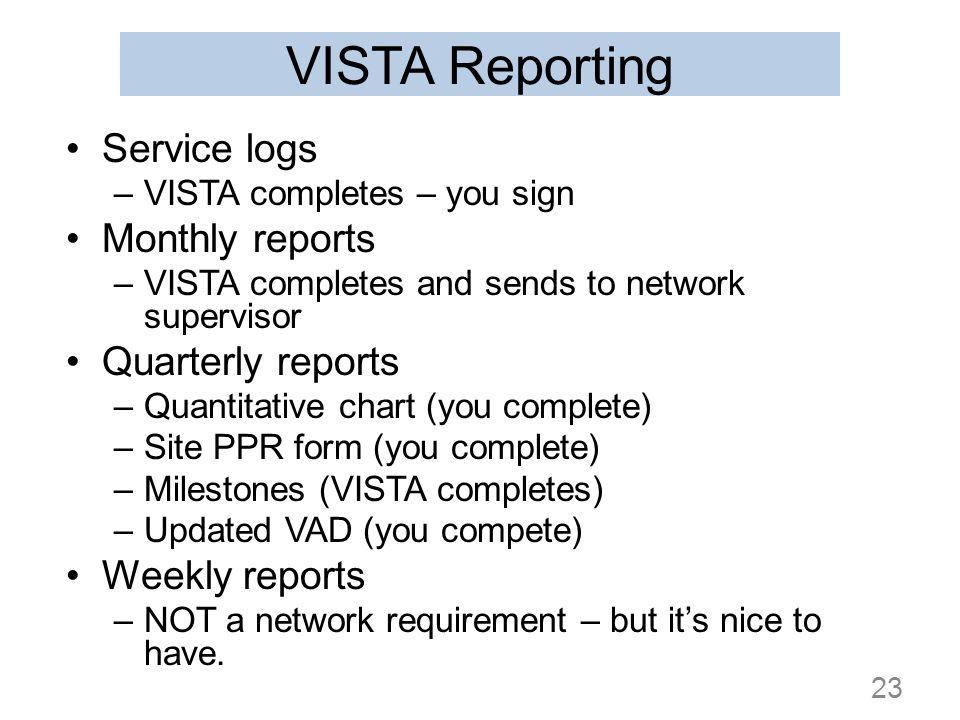 VISTA Reporting Service logs –VISTA completes – you sign Monthly reports –VISTA completes and sends to network supervisor Quarterly reports –Quantitat