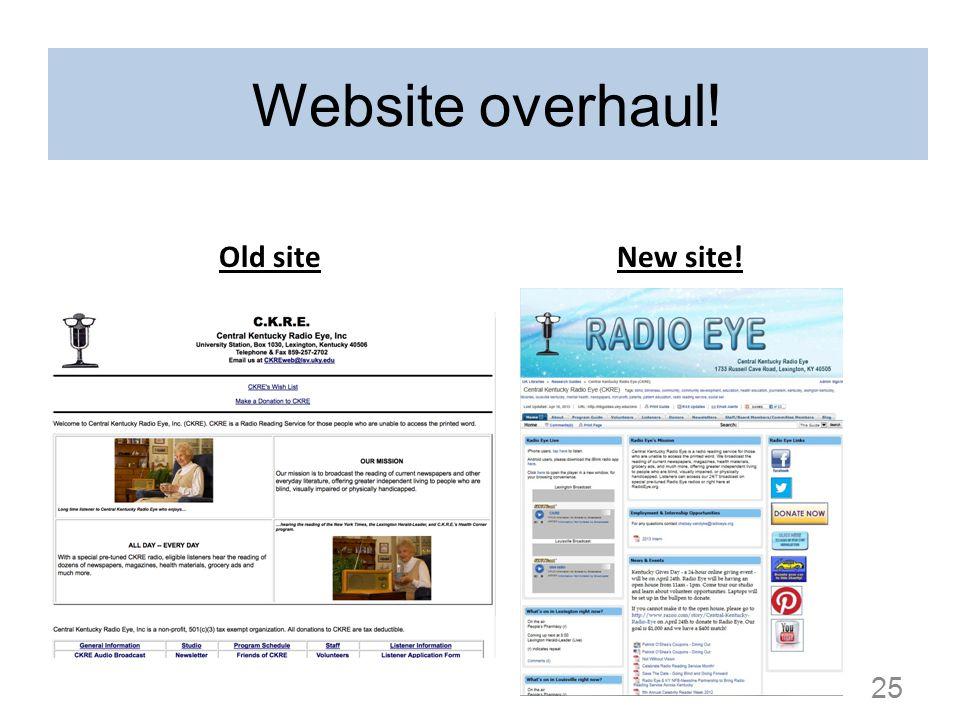 Website overhaul! Old siteNew site! 25