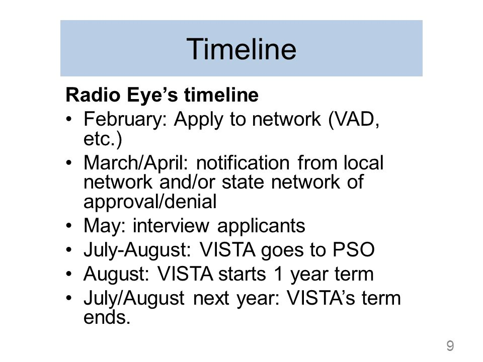 Timeline Radio Eyes timeline February: Apply to network (VAD, etc.) March/April: notification from local network and/or state network of approval/deni