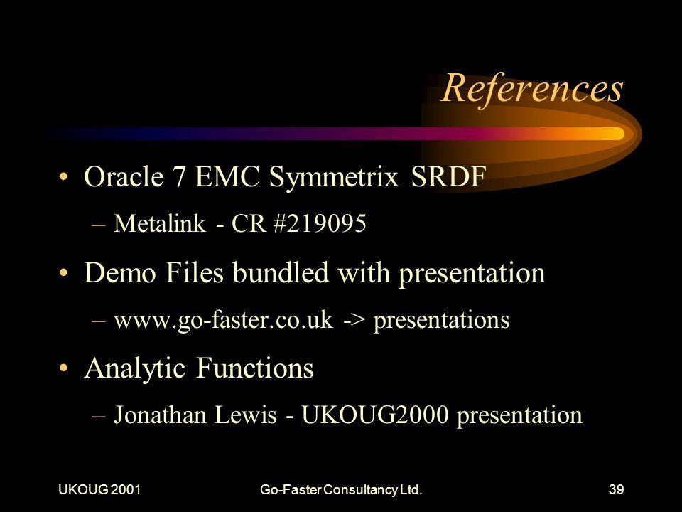 UKOUG 2001Go-Faster Consultancy Ltd.39 References Oracle 7 EMC Symmetrix SRDF –Metalink - CR #219095 Demo Files bundled with presentation –www.go-faster.co.uk -> presentations Analytic Functions –Jonathan Lewis - UKOUG2000 presentation