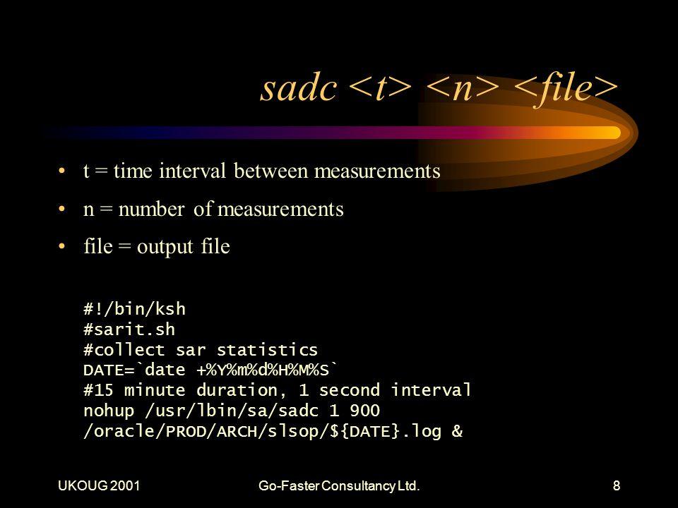 UKOUG 2001Go-Faster Consultancy Ltd.8 sadc t = time interval between measurements n = number of measurements file = output file #!/bin/ksh #sarit.sh #collect sar statistics DATE=`date +%Y%m%d%H%M%S` #15 minute duration, 1 second interval nohup /usr/lbin/sa/sadc 1 900 /oracle/PROD/ARCH/slsop/${DATE}.log &