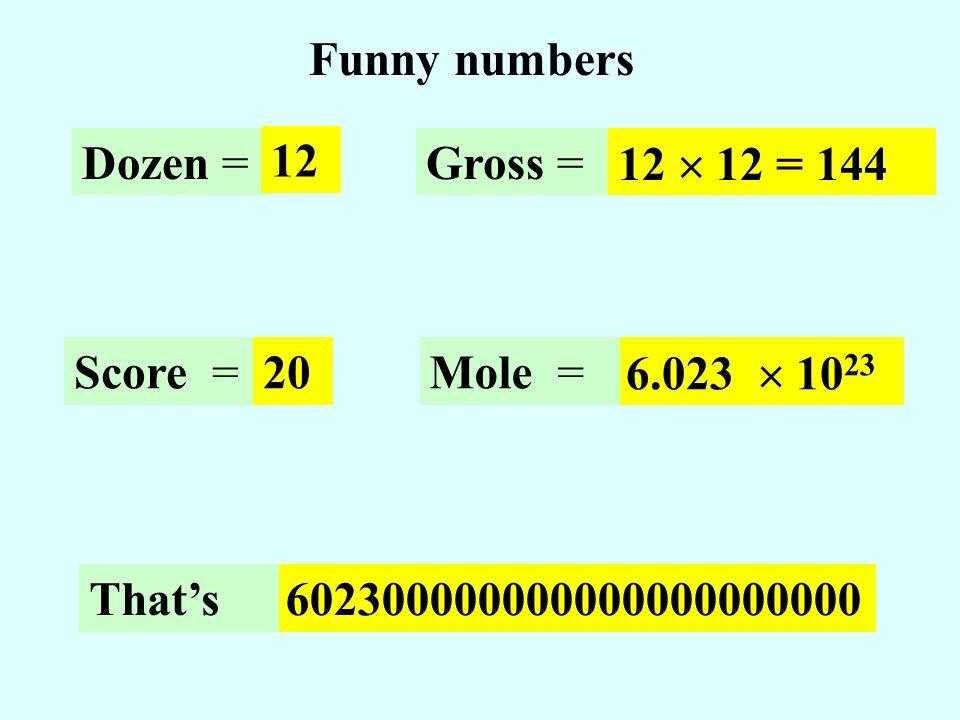 Funny numbers Dozen = 12 Gross = 12 12 = 144 6.023 10 23 602300000000000000000000 Mole =Score =20 Thats