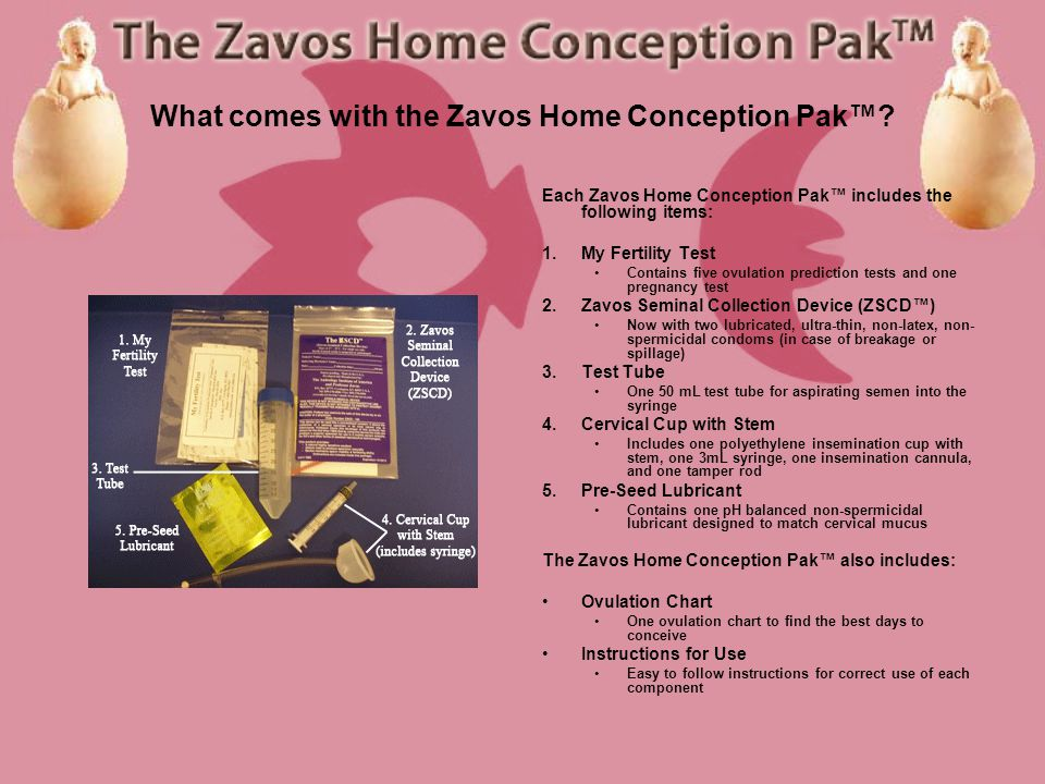 What comes with the Zavos Home Conception Pak.
