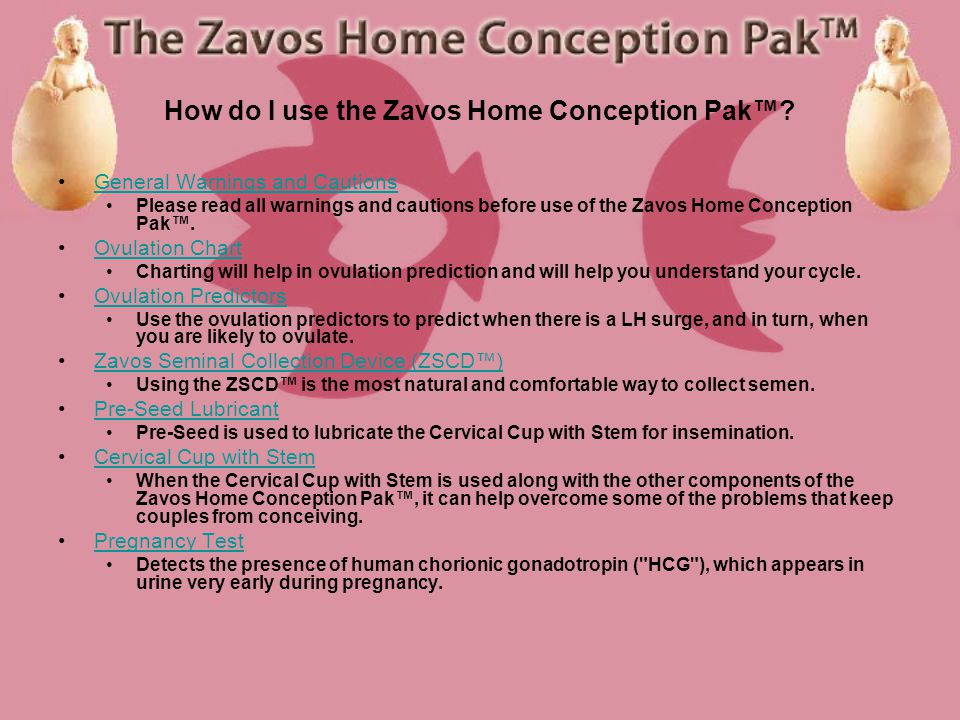 What comes with the Zavos Home Conception Pak? Each Zavos Home Conception Pak includes the following items: 1.My Fertility Test Contains five ovulatio
