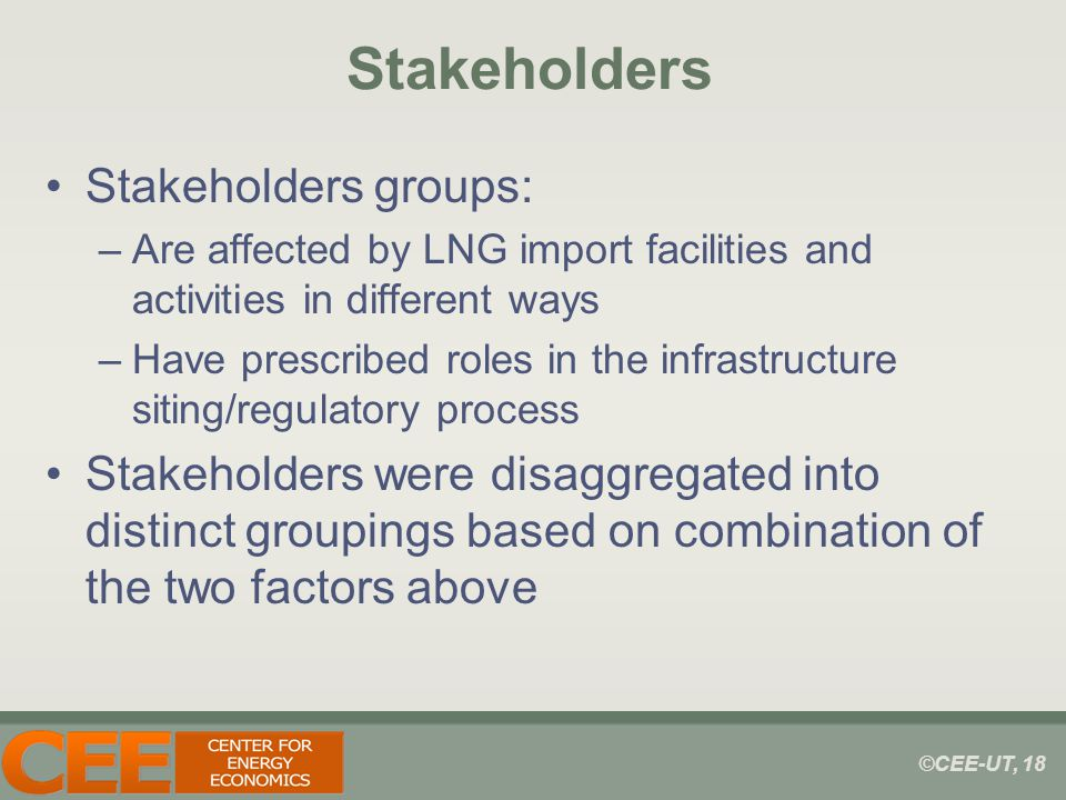 ©CEE-UT, 18 Stakeholders Stakeholders groups: –Are affected by LNG import facilities and activities in different ways –Have prescribed roles in the infrastructure siting/regulatory process Stakeholders were disaggregated into distinct groupings based on combination of the two factors above
