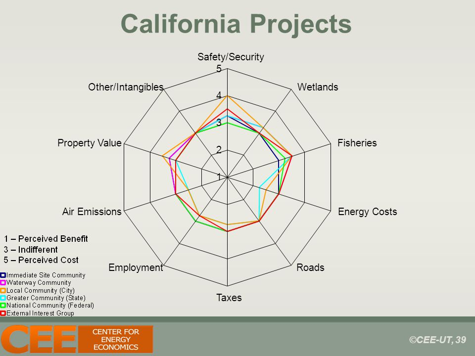 ©CEE-UT, 39 California Projects 1 2 3 4 5 Safety/Security Wetlands Fisheries Energy Costs Roads Taxes Employment Air Emissions Property Value Other/Intangibles