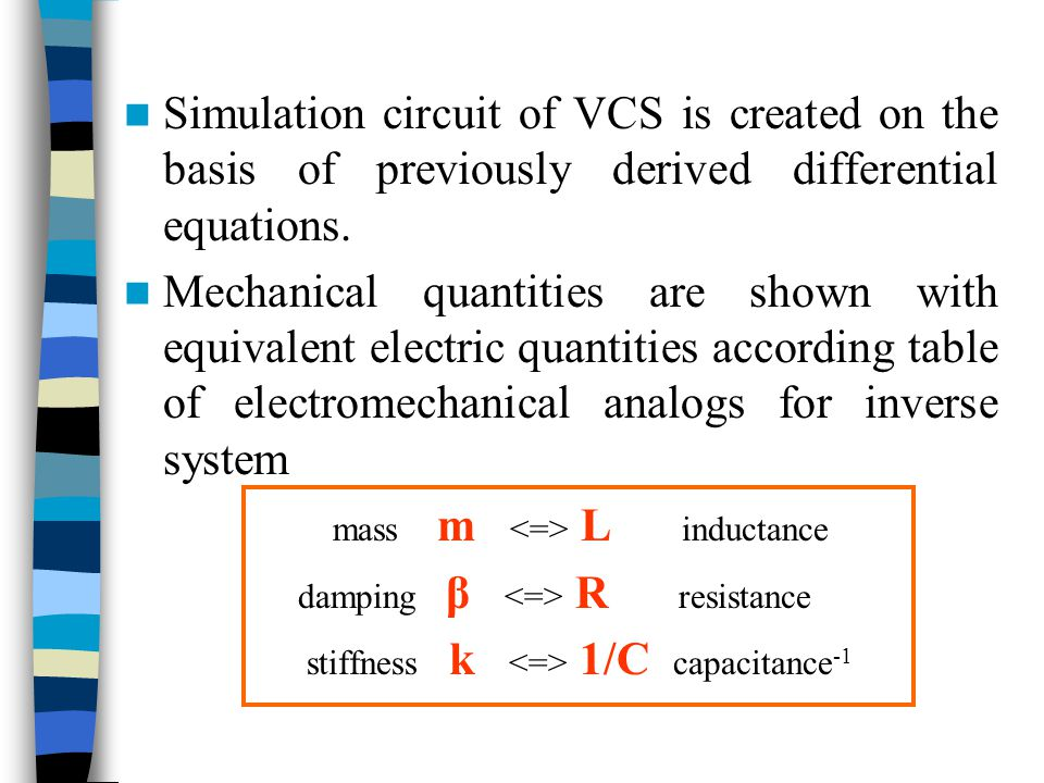 Simulation circuit of VCS is created on the basis of previously derived differential equations.