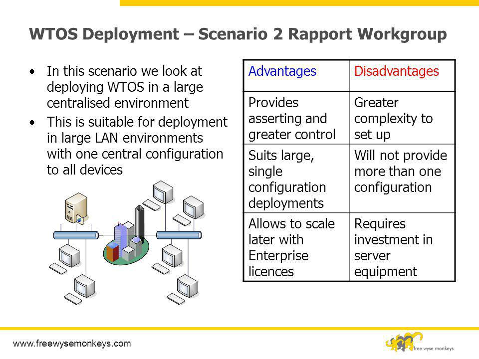 www.freewysemonkeys.com WTOS Deployment – Scenario 2 Rapport Workgroup In this scenario we look at deploying WTOS in a large centralised environment T