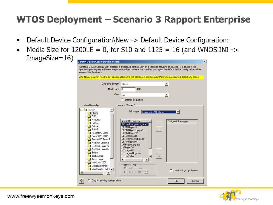 www.freewysemonkeys.com WTOS Deployment – Scenario 3 Rapport Enterprise Default Device Configuration\New -> Default Device Configuration: Media Size f
