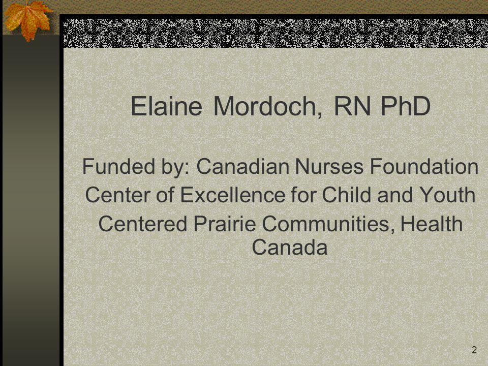 2 Elaine Mordoch, RN PhD Funded by: Canadian Nurses Foundation Center of Excellence for Child and Youth Centered Prairie Communities, Health Canada