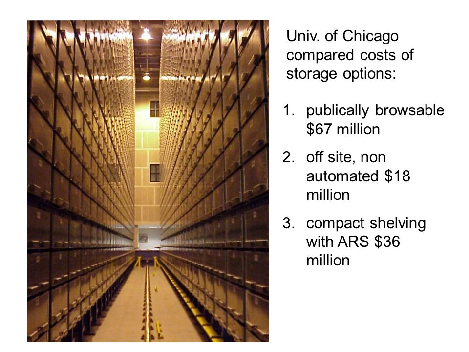 1.publically browsable $67 million 2.off site, non automated $18 million 3.compact shelving with ARS $36 million Univ. of Chicago compared costs of st