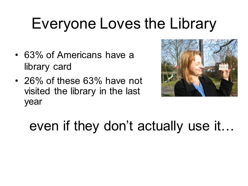 Everyone Loves the Library 63% of Americans have a library card even if they dont actually use it… 26% of these 63% have not visited the library in th