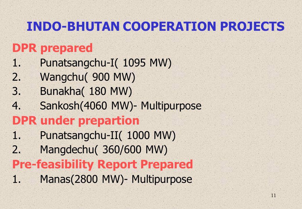 11 INDO-BHUTAN COOPERATION PROJECTS DPR prepared 1. Punatsangchu-I( 1095 MW) 2. Wangchu( 900 MW) 3. Bunakha( 180 MW) 4. Sankosh(4060 MW)- Multipurpose